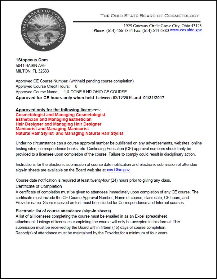 Ohio State Board Of Cosmetology Approval Letter Crs01