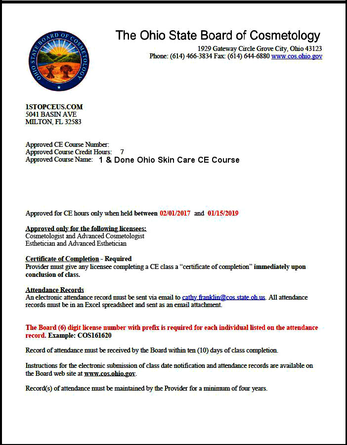 Ohio State Board of Cosmetology Course Approval Letter