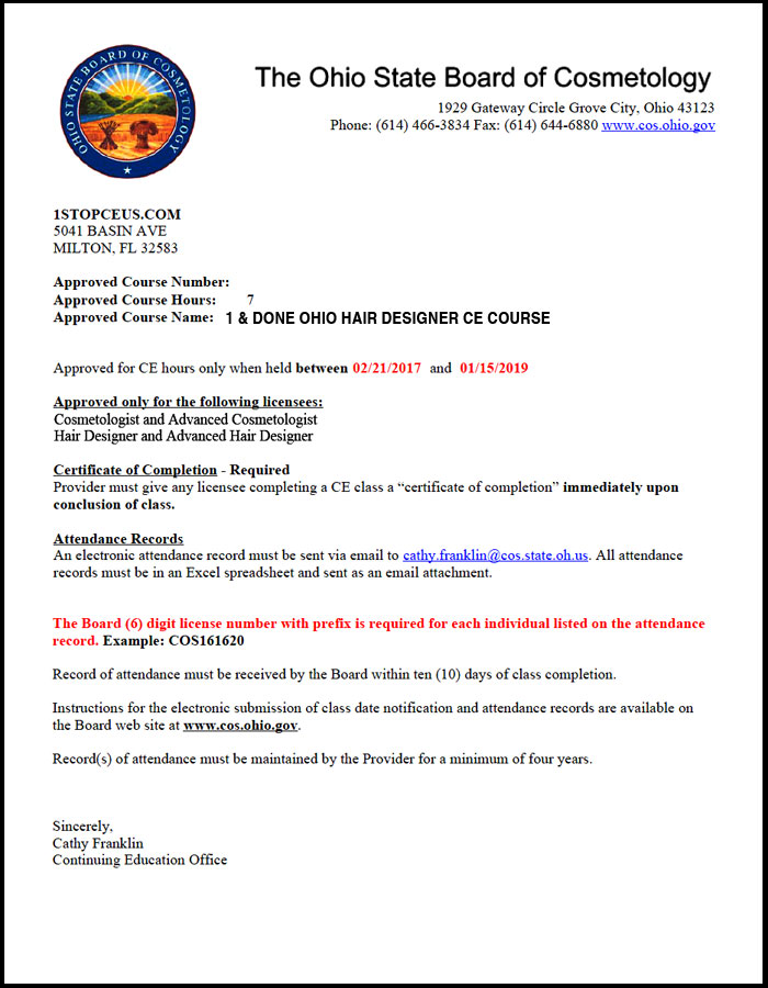 Ohio state board of cosmetology approval letter crs01 ohio state board of cosmetology course approval letter altavistaventures Images